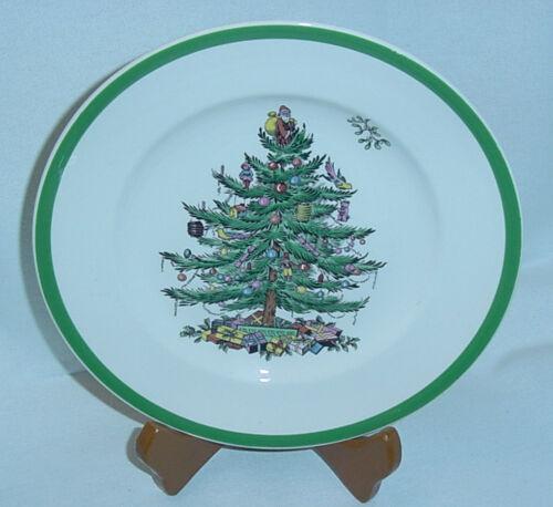 """SPODE CHRISTMAS TREE GREEN TRIM S3324 SALAD OR DESSERT PLATE 7-3//4/"""" DIA EUC vtm"""