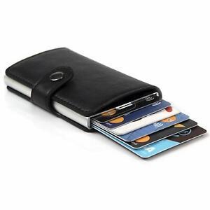Portafoglio Nero RFID Porta Carte di Credito e Tessere Slim in Pelle con Clip