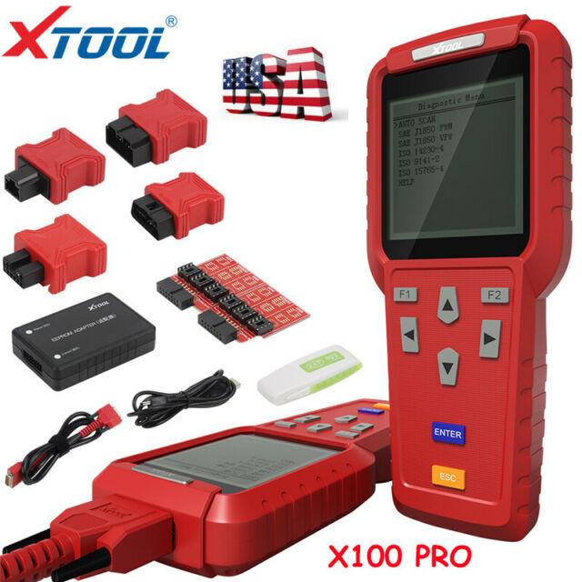 Xtool X100-PRO Car Diagnostic Scan Tool with Auto Key Programmer Function for OBDII Vehicles Red