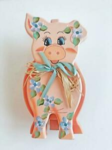 Wooden-Whimsical-9-034-Painted-Pig-Decoration-3D-Figure-Kitchen-Room-Decor-Vintage