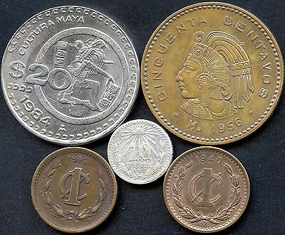 1+2+5+10 Pesos 2001-2012 UNC LOT 8 MEXICO COMPLETE COIN SET 5+10+20+50 Centavos