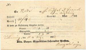 BAYERN-1842-034-TITTMONING-034-hs-Kab-Fahrpost-Aufgabe-Schein-Scheingebuehr-4-Kr