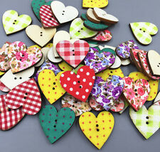 25X Mixed pattern Wooden Heart-shaped buttons Sewing 2-holes scrapbooking 24mm