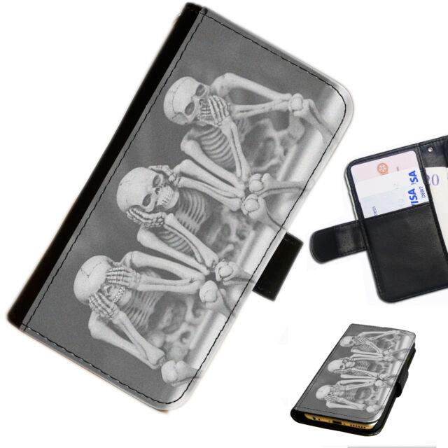 Cráneo 24 esqueleto ningún mal Impreso Cartera De Piel/Cubierta para Estuche Abatible Para Teléfono Móvil
