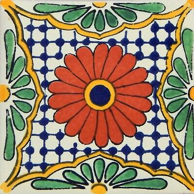 "Handmade Mexican Tile Sample  Talavera Clay 4/"" x 4/"" C195"