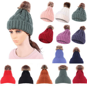 2a9b41d6557 New Women Men Winter Chrismas Crochet Hat Knit Hat Beanie Hairball ...