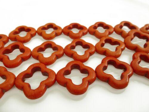 20 HALBEDELSTEIN Perlen Howlith Abstrakt 19mm Farbe orange nenad-design E066