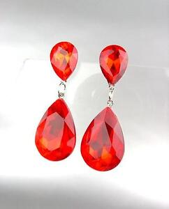 GLITZY-Crimson-Red-Czech-Crystals-Bridal-Queen-Pageant-Prom-Earrings-4320