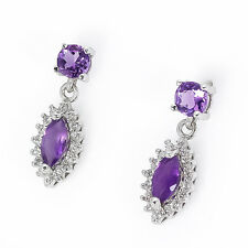 Natural Amethyst Stone & White Cubic Zirconia  925 Sterling Silver Earrings