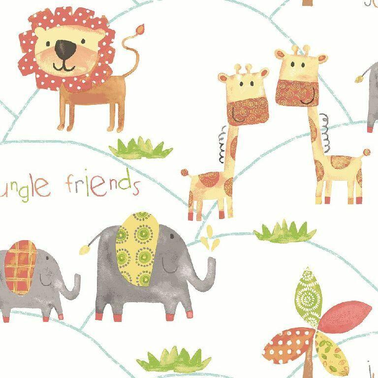 Essener Tapete Just 4 Bimbi 2 G56023 Animali Leone Giraffa Elefant