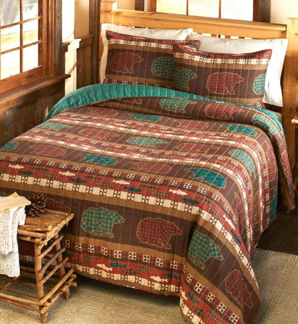 3pc CANYON CREEK Queen Quilt Set Lodge Log Cabin Bear Rustic Plaid Forest Woods