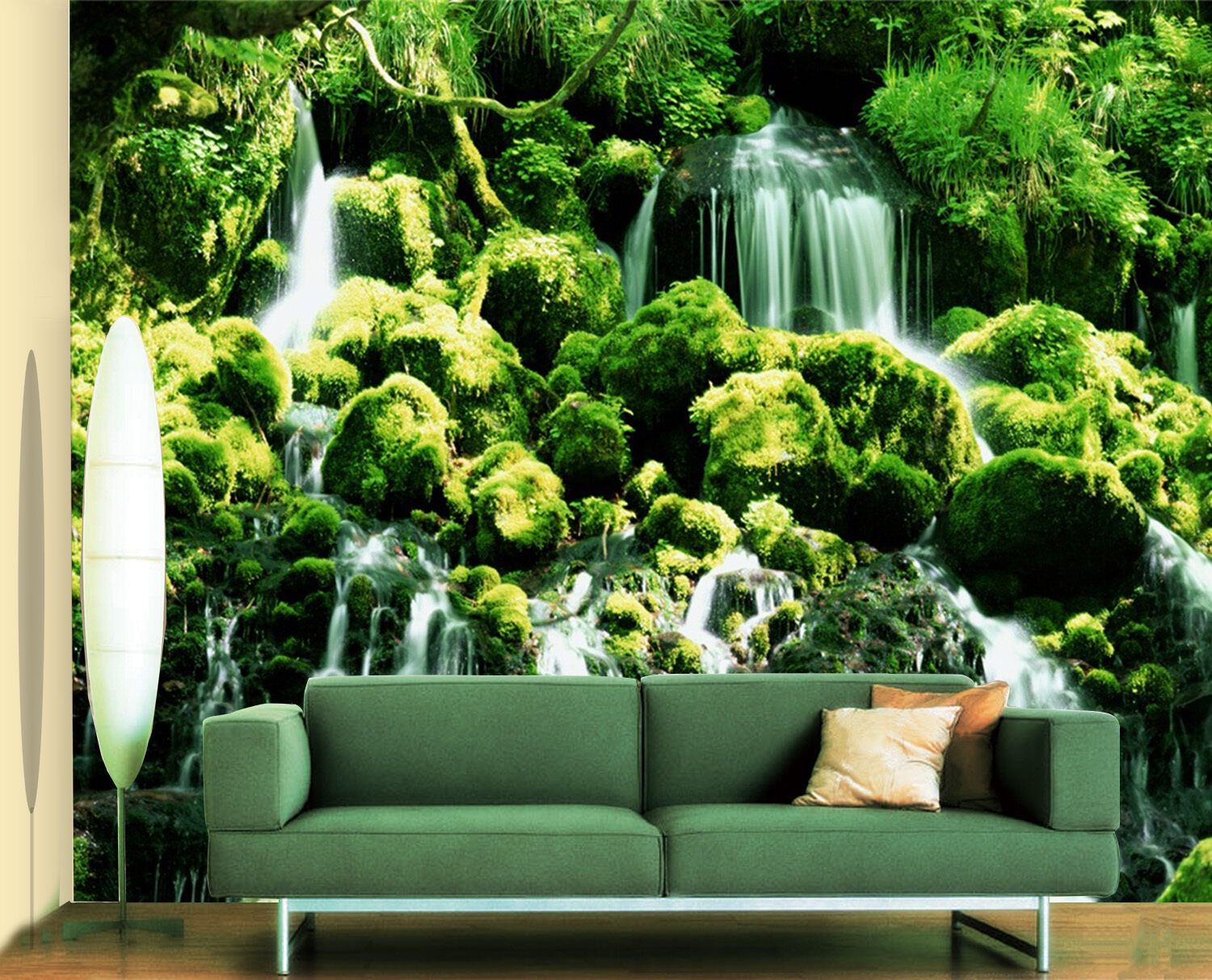 3D Waterfall Moss Stone 1775 Paper Wall Print Wall Decal Wall Deco Indoor Murals
