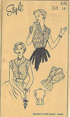1950s Vintage Sewing Pattern B38 BLOUSE (R995)