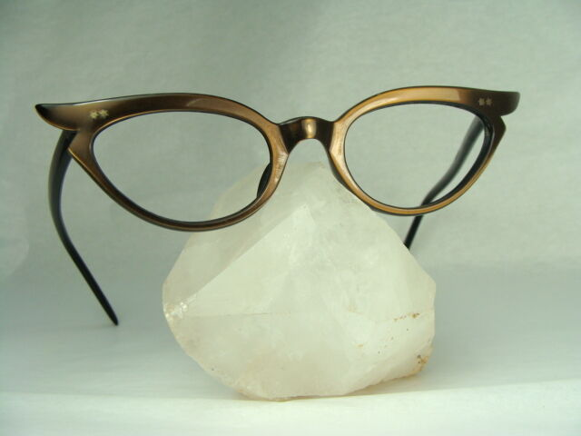 Vintage 60s Women's Swank Cat Eye Classic Mink Frame Optometry EyeGlasses 44-22