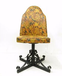 Terrific Details About Vtg Set Of 2 70S Funky Floral Vinyl Swivel Wrought Iron Base Dining Chair Bralicious Painted Fabric Chair Ideas Braliciousco