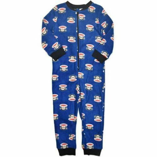 New Paul Frank Licensed Warm Fleece Zip up Pyjamas PJs Sleepwear Boys 4-7 Blue