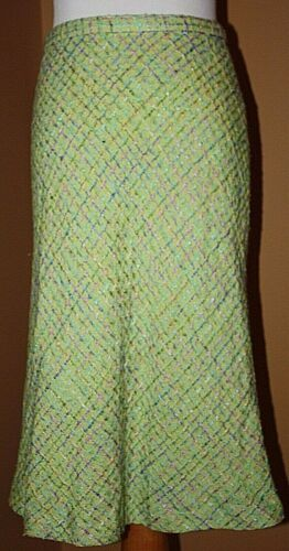 Neiman Marcus Green Tweed Skirt Blue Purple Plaid