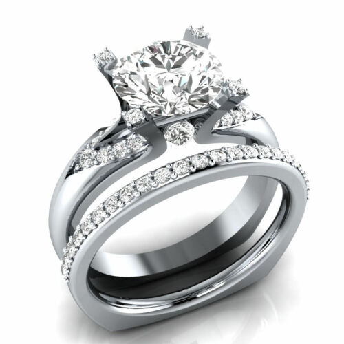 Certified 2.60Ct Round Cut Diamond in 14K White Gold Engagement Wedding Ring Set