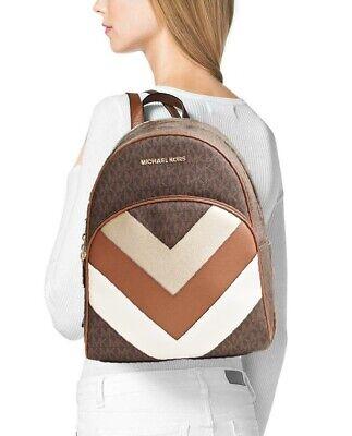 Michael Kors rucksack tasche abbey md signiatur backpack braun pale gold neu | eBay