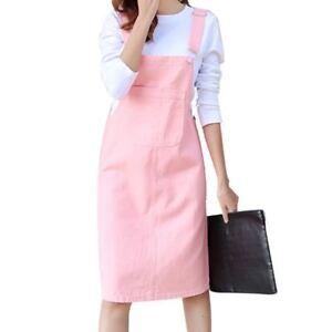 Solid-Suspender-Dress-Knee-Length-Denim-Dress-Sweet-Preppy-Style-For-Women