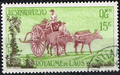 Laos Königreich Kultur Ethniciries Dorf Leben Ox Carriage Briefmarke 1952 Motive