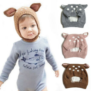 Cute Baby Girl Boy Winter Warm Kid Dual Balls Ear Wool Thick Knit ... 5af715fc7d92