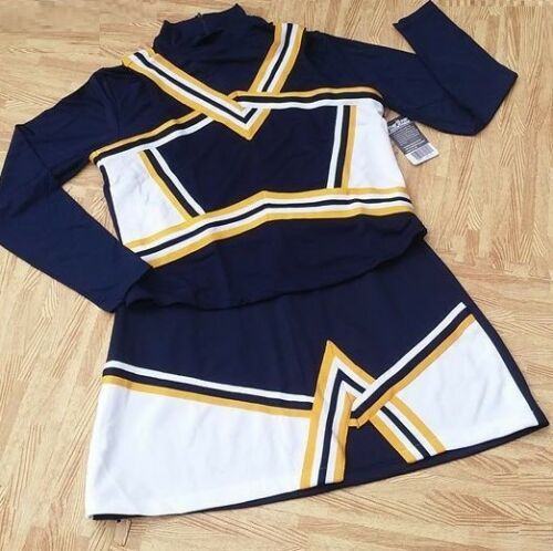"""ADULT XXL NAVY BLUE Cheerleader Uniform Crop Top Shell Skirt 42-46//36-38/"""" NEW"""