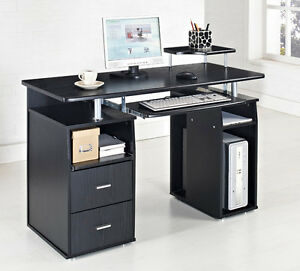 Computer Desk PC Table Home Office Furniture Black White Walnut