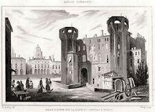 TORINO CAPITALE: Piazza Castello. Regno di Sardegna. ACCIAIO. Stampa Antica.1838