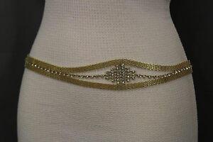 Women Antique Gold Metal Chains Waistband Fashion Belt Bling Rhinestones S M L