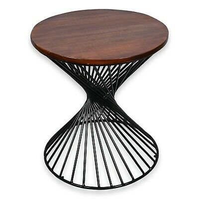 Reclaimed Industrial 20 Inch Round Side Table Accent Table End Table 615265737037 Ebay