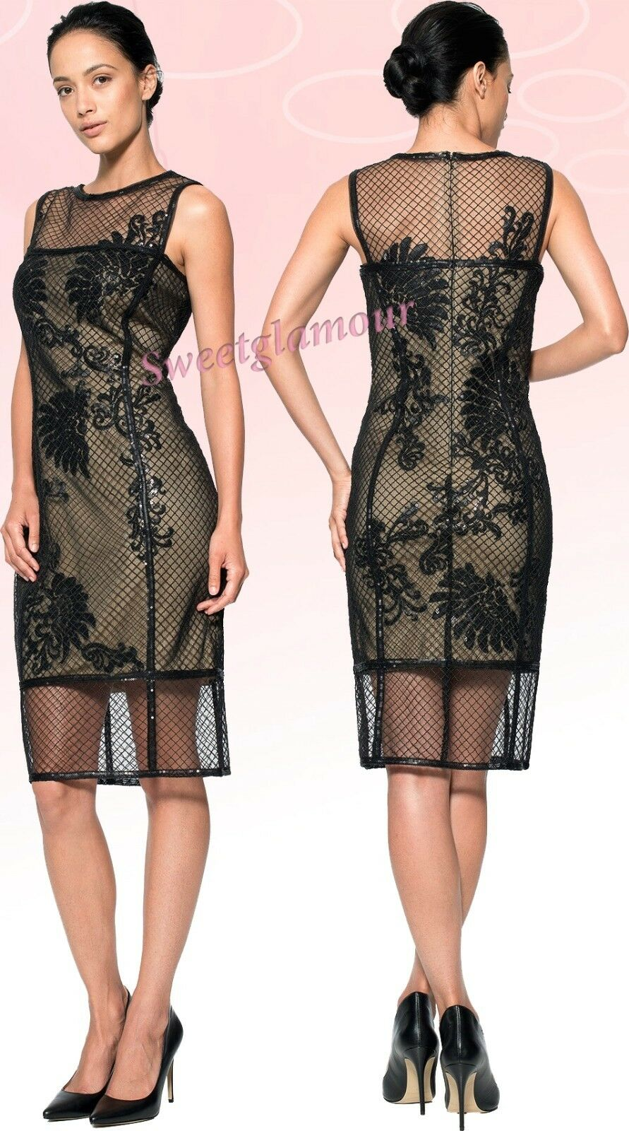 db88a9c197eb63 Tadashi Shoji Sequin Lace Illusion Grid Tulle Sheath Dress Corded ...