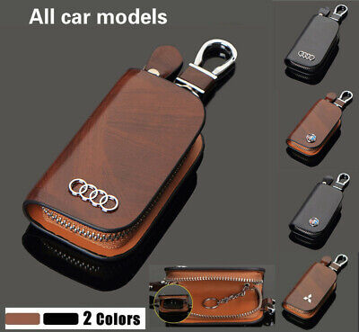 Luxury Wood Grain Genuine Leather Car Key Chain Wallets Cover Case For All Cars