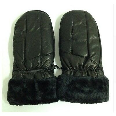 Women Leather Gloves Very Warm Fingerless Gloves Lady Winter Leather Mittens