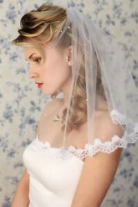 Short-Wedding-Veils-Bride-Accessories-White-Ivory-Bridal-Bride-Shoulder-Length