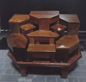 BUDDHA STATUE STAND WOOD TABLE ALTAR EXOTIC LUMBER 9 MINI DOLLHOUSE ...