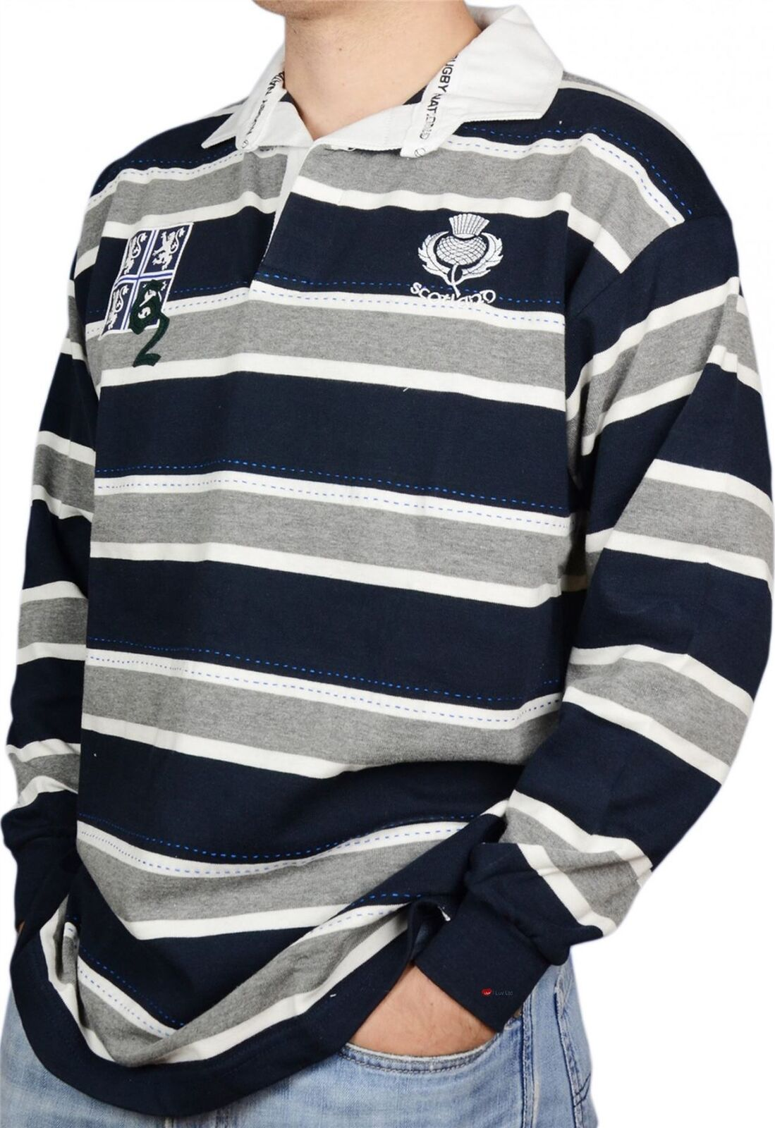 Scottish Rugby Camicia Da Uomo Edimburgo Edimburgo Edimburgo 62 High Design Grigio E Blu Scuro Piccola 27f7be