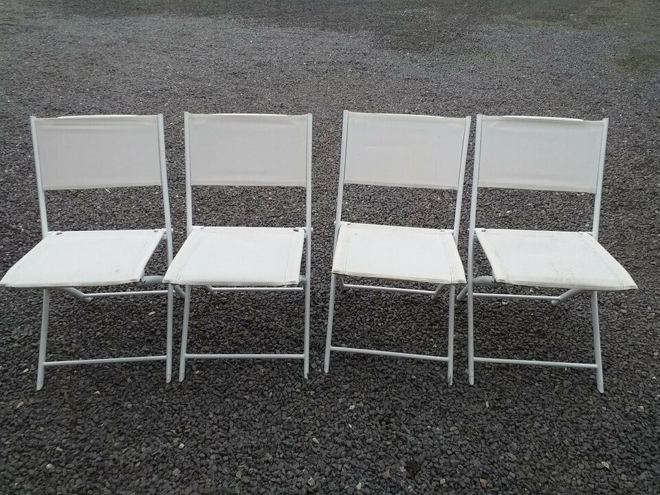 Havestole, 4 franske klapstole, Metal og plastikflet
