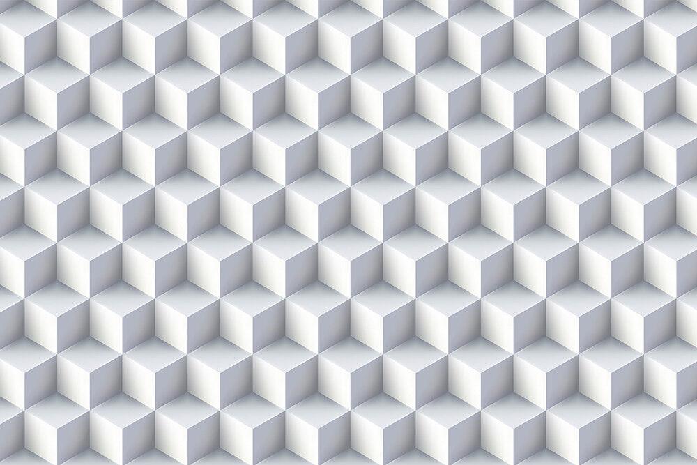 Fototapete Fototapete Fototapete Weißes 3D Desing Quadrate - Kleistertapete oder Selbstklebende Tapete 3ba268
