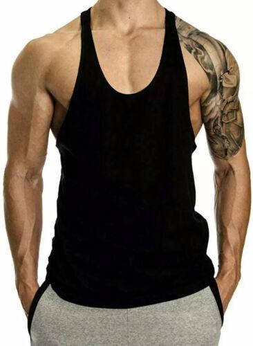 Hommes Noir Gym Débardeur Dos Nageur Bodybuilding Muscle Stringer Plain Gilet Medium