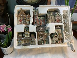 Vintage-1994-Christmas-Village-SET-Of-6-Fire-Station-Dickens-Station-Post-Office