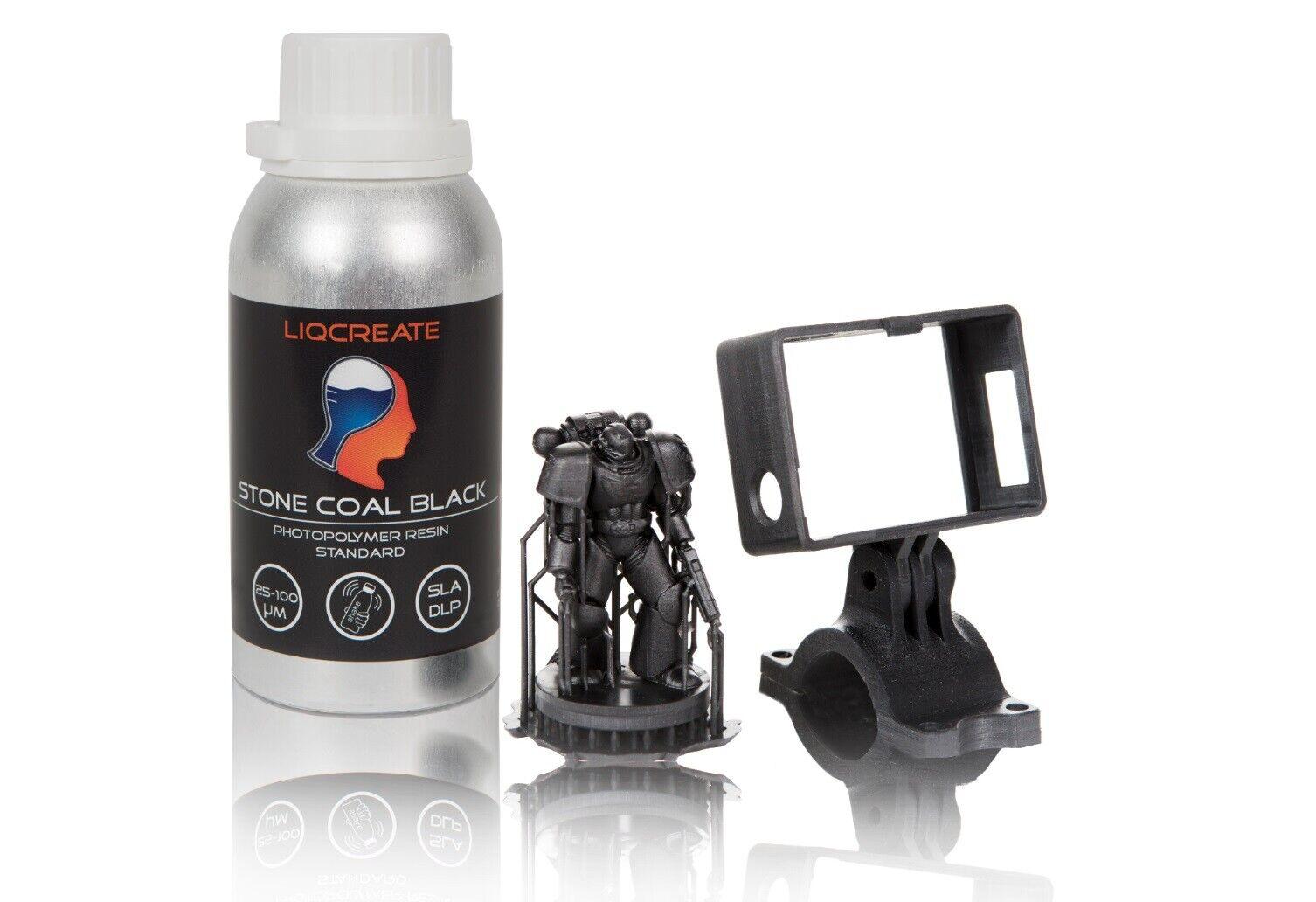 Liqcreate Stone Coal Black 3D Printer / 3D Printing UV Resin 0.25kg Bottle