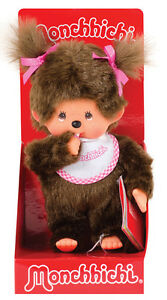 MONCHHICHI-GIRL-Original-Sekiguchi-7-5-034-Pink-Bib-Monchichi-plush-monkey-Doll-toy
