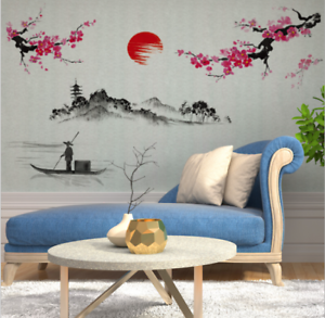 Details About Chinese Landscape Paint Painting Plum Blossom Wall Stickers Art Room Decor Quote