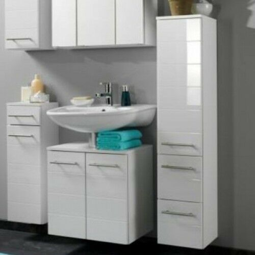 Wall mounted bathroom cabinet white gloss long tall - White tall bathroom storage unit ...