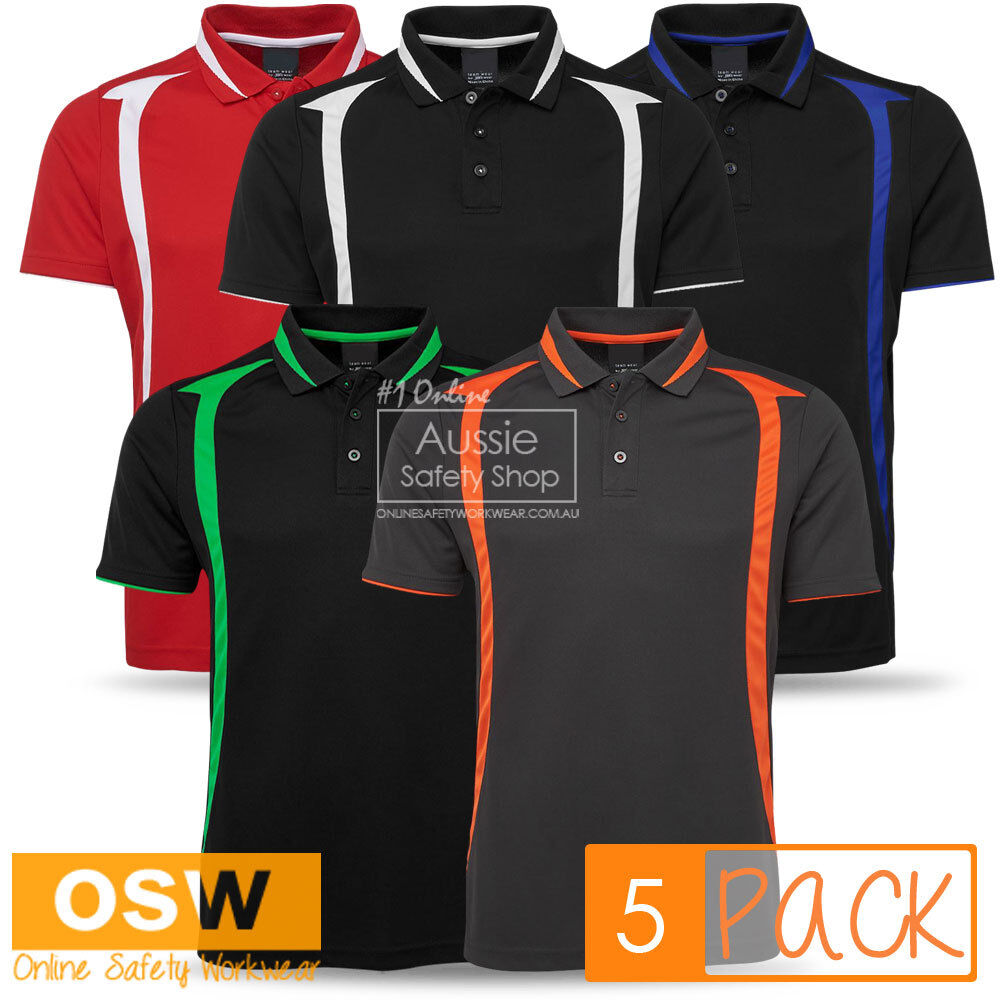 5 X UNISEX SWIRL PIQUE KNIT CONTRAST BREATHABLE OFFICE POLO UNIFORM SHIRTS