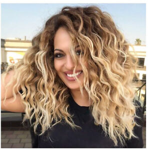Details About Honey Blonde Ombre Full Wigs Short Wave Bob Synthetic Hair Wigs Middle Part Wigs