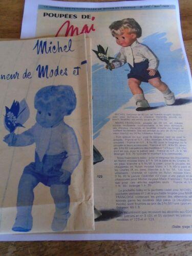 T7 PATRON POUPEE MICHEL BAIGNEUR MODES ET TRAVAUX CHEMISE ET CULOTTE  1969
