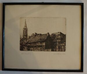 Old-Hamburg-Etching-Jakobikirche-Signed-1922