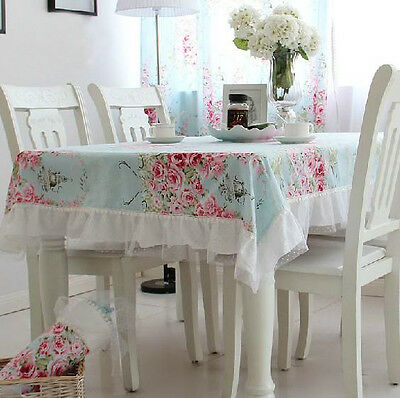 Charming Blue Floral Lace Chic Table Cloth or Chiair Cover C021